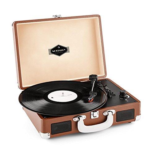 Auna Peggy Sue Giradischi per vinili vintage con valigetta portatile ed altoparlanti integrati (2 casse, USB, 3 misure per i dischi) marrone