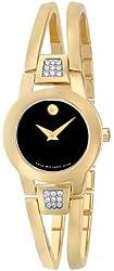 Movado Women's 604984 Amorosa Diamond-Accented Gold-Plated Bangle Watch