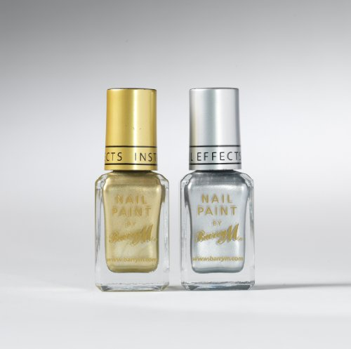 New Barry M Set Of 2 Instant Nail Effects Foil Nail Polish Silver Foil & Gold Foil 10ml
