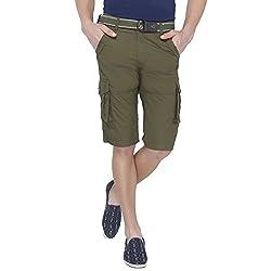 Origin Green Cotton Solid Capris for Men