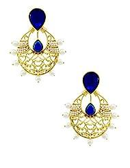 The Art Jewellery Rajwadi Ethnic Royal Blue Dangle&Drop Earrings For Women