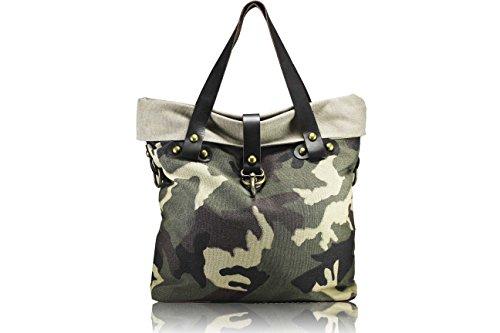 FERETI borsa Verde beige militare camuffamento esercito army donna
