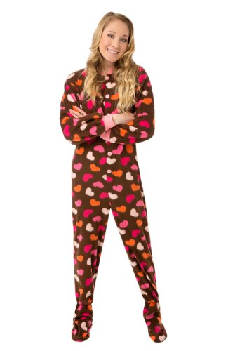 Big Feet Pjs Brown Fleece W/ Hearts Adult Footed Pjs No Drop-Seat (Xs) front-868169