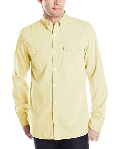 French Connection Men's Summer Twill Chambray Long Sleeve Shirt