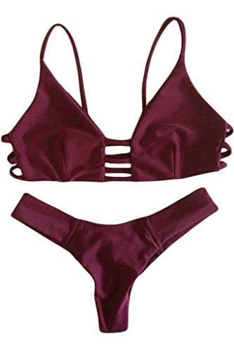 HOTAPEI Women Cut out Vintage Pinup Strappy Bikini Small Maroon