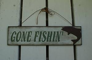 "Fishin' Wall Plaques - Measures: 16"" Length X 4"" Height (GONE FISHIN')"