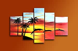 cherish handbemalt h ngelampe deckenlampe modern art lbilder jumping dolphins delfine im. Black Bedroom Furniture Sets. Home Design Ideas