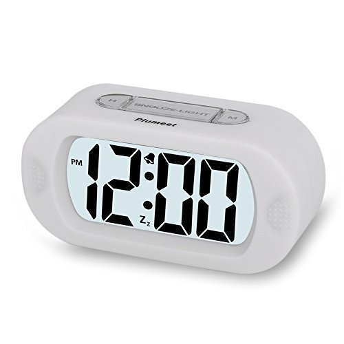 Plumeet Easy Setting Travel Alarm Clock with Silicone Protective Cover,Digital Clock Alarm Clock Radio Large Display,Electric Alarm Clock with Snooze Light Function Batteries Powered (White)