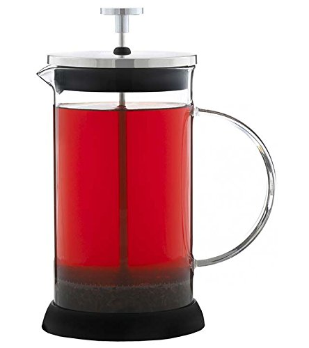 GROSCHE LISBON French Press 1000ml, 34 fl. oz capacity Coffee and Tea Press, All Glass body with Stainless Steel filter press, removable silicone grip base, and Coffee Scoop