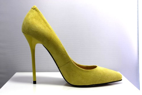 NATASCHA TIEU High Heel Pumps Court Stiletto Shoe YELLOW Suede Leather
