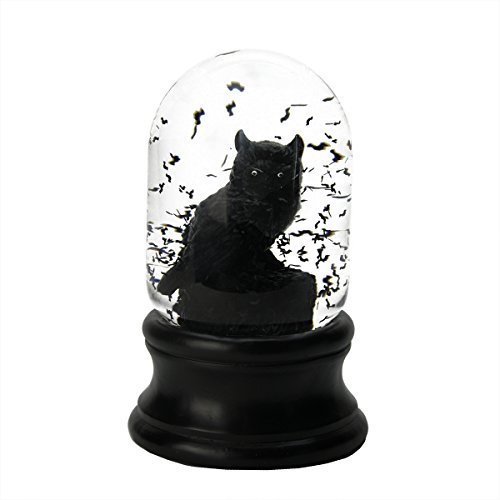 Black Creepy Owl with Swirling Bats Halloween Snow Globe Glitterdome