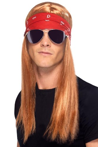 Smiffy's 80's Rocker Kit with Auburn Wig, Bandana and Sunglasses