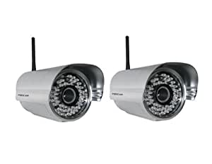 2 Pack - Foscam FI8905W Outdoor Wireless/Wired IP Camera Waterproof with 30 Meter Night Vision and 4mm Lens (50° Viewing Angle) - Silver