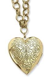 1928 Brass-tone Heart Locket on 28 Inch Necklace