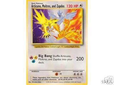 Pokemon Legendary Birds Jumbo Promo Card : Zapdos, Moltres, Articuno