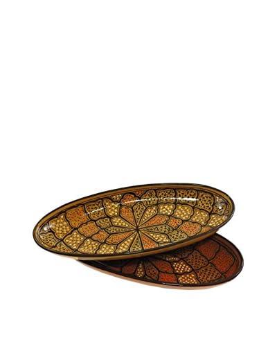 Le Souk Ceramique Honey Set of 2 Large Oval Platters, Honey/Brown
