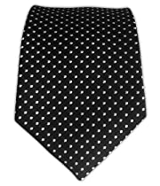 100% Silk Woven Black Pindot Skinny Tie