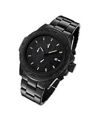 Armourlite Shatterproof High Impact Glass Crystal Phantom Tritium Black Chronograph Watch AL60