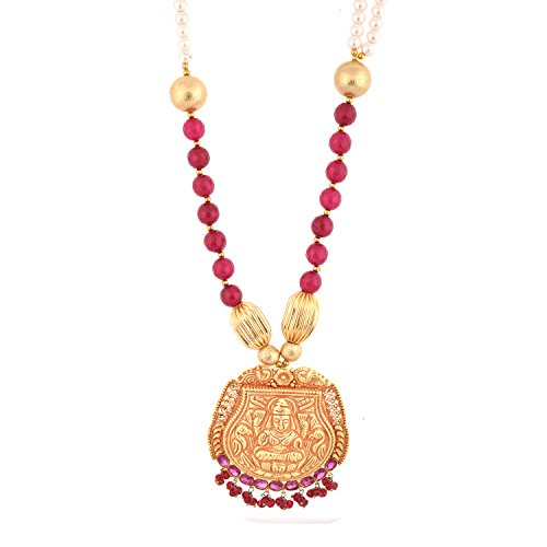 Red Manirathnum Red Semi Precious Stones, Brass Temple Jewelery 65.00 Grams For Women (Multicolor)