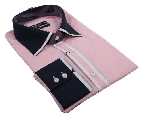 Mens Italian Pink Shirt Navy White Collar & Cuff Smart or Casual