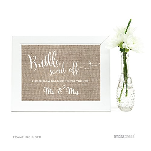 Andaz Press Wedding Framed Party Signs, Burlap Lace Printed Cardstock, 5x7-inch, Bubble Send Off Please Blow Good Wishes for the New Mr. & Mrs. Sign, 1-Pack, Includes Frame