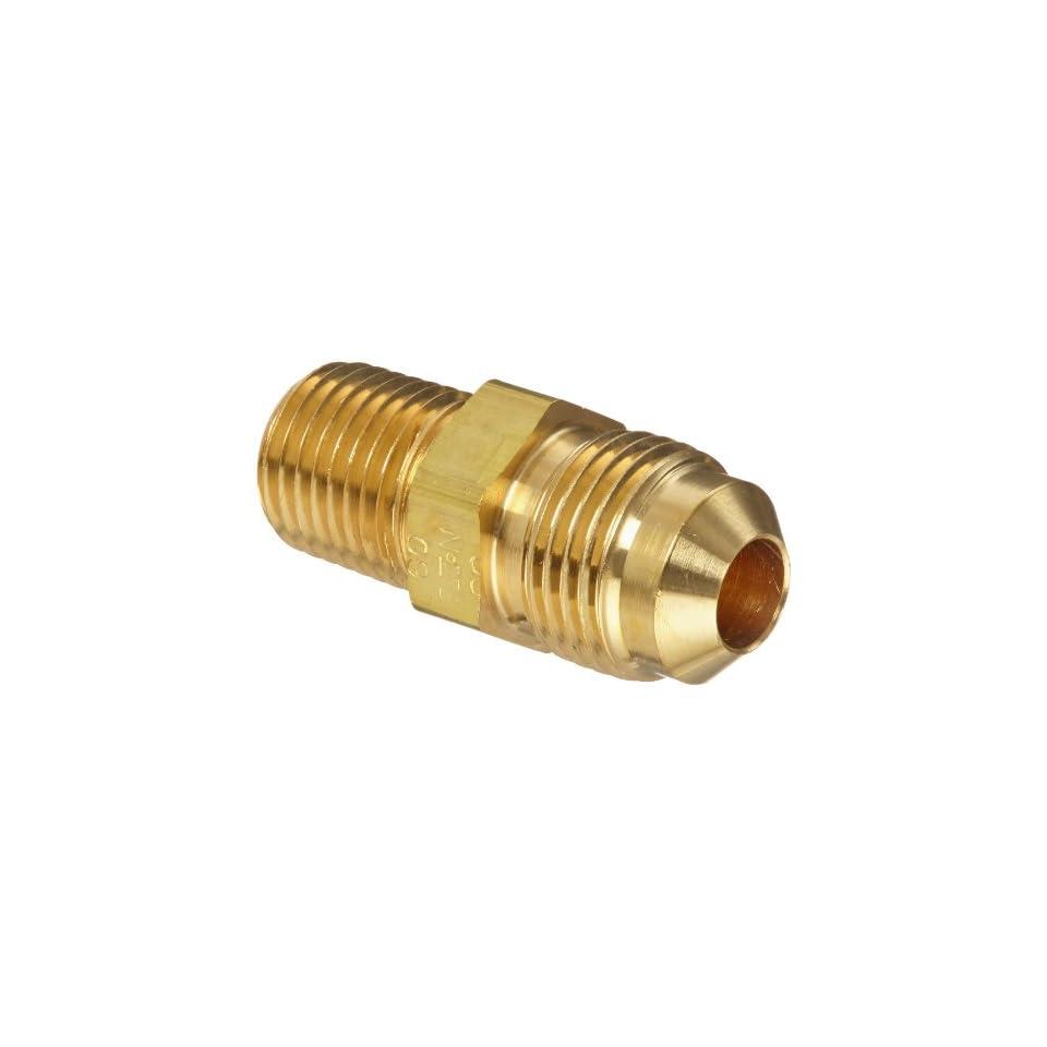 Eaton Aeroquip 2000 4 6B Brass Flared Tube Fitting, Adapter, 3/8 Male SAE 45 Degree x 1/4 Male Pipe Thread