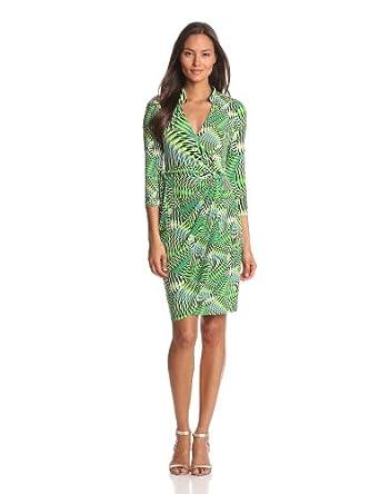 Maggy London Women's Scalloped Wrap Dress, Lawn, 4
