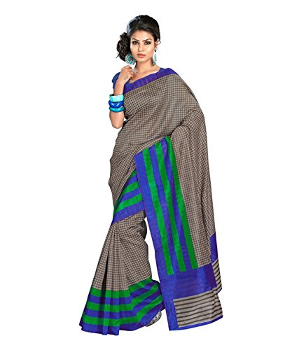 Fabdeal Indian Bhagalpuri Silk Grey Printed Saree (ORESR6112BMHSR)