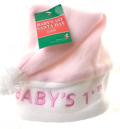 Babys 1st Christmas Santa Hat White Pink Soft Cute Holidays Dress Up Sweet Fun - 1