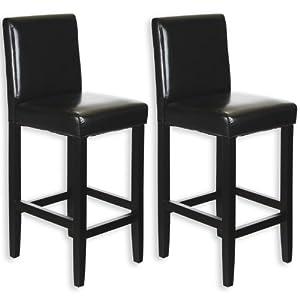 lot de 2 tabourets de bar pub simili cuir noir cuisine maison. Black Bedroom Furniture Sets. Home Design Ideas