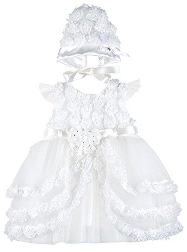 Lilax Baby Girl's Christening Baptism Rosebud Dress Gown & Bonnet 2 pcs Set 6 Months
