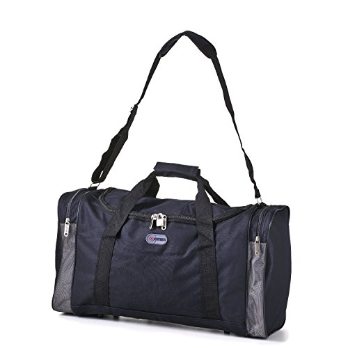 5 Cities/Frenzy Ultra Lightweight Cabin Size Carry On Holdall -Ryanair Approved Flight/Weekend/Overnight Bag (55X40X20Mm) Large 32L Capacity, Ripstop Material, Optional Shoulder Strap. (Black)