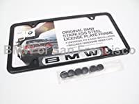 Bmw License Plate Frame Wbmw Logo Black Stainless Steel from BMW Factory OEM