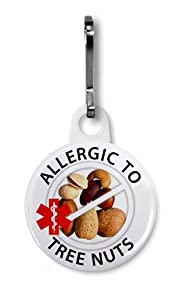 ALLERGIC to TREE NUTS Allergy Medical Alert 1 inch White Zipper Pull Charm by Creative Clam