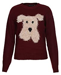 Brave Soul Womens Fashion Fur Dog Print Knitted Pullover Jumper Maroon Red