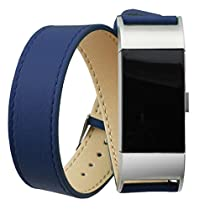 AutumnFall Long Genuine Leather Band Double Tour Bracelet Watchband for Fitbit Charge 2 (Blue)