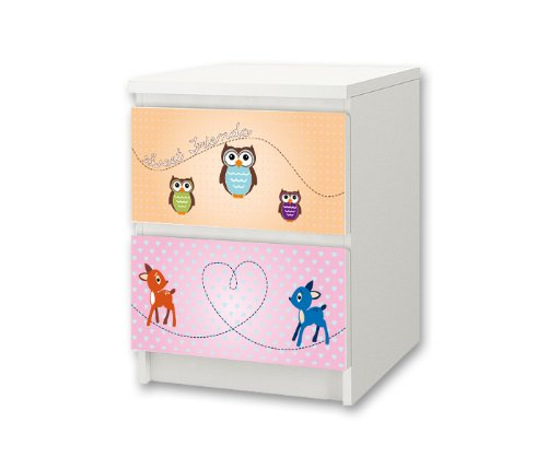 Forest Animals Sticker-Set for Nursery Chest of Drawers / Bedside Cabinet MALM from IKEA - NS35