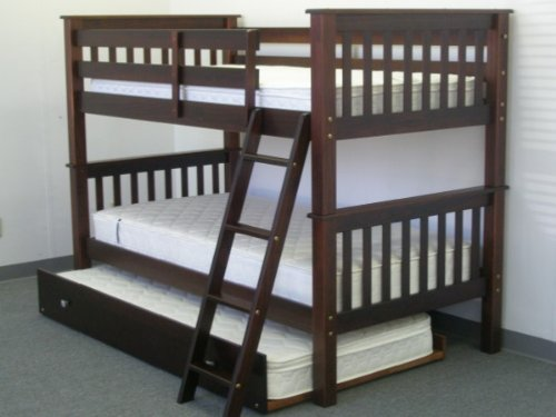 Bedz King Bunk Bed with Twin Trundle, Twin Over Twin Mission Style, Cappuccino
