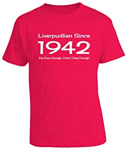 70th Birthday - Liverpudlian Since Liverpool Funny Born Mens T-shirt - Red Large