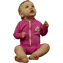 Sun Protective UV Swimsuit - Pink Long Sleeves - UPF/SPF Protection - Baby & Toddler Girls- 0-6 months