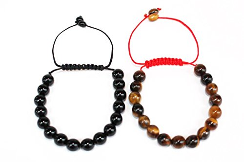 Tiger's Eye and Black Onyx Bracelets-8 mm Natural Stones-Men and Women- Pack of 2 Organza Pouch