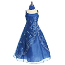 Little Girls Royal Blue Beaded Pageant Dress 4