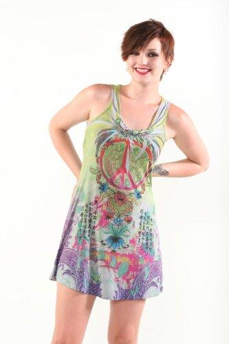 Colorful Peace Sign Mini Dress Scoop Neck Tattoo Art Peace Sign Dress