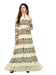 Shoppingover Bollywood Party Wear Anarkali Style Salwar Kameez in Georgette Fabric-Off-white Color