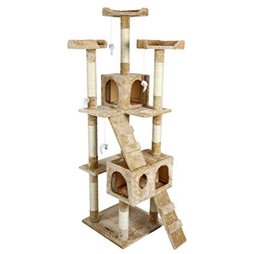 Produktabbildung von Katzen Kratzbaum mittelhoch ca. 170cm beige mit vielen Spiel und Kuschelmöglichkeiten