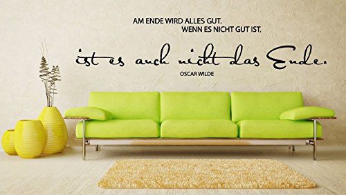 wandtattoo wandaufkleber spruch zitat oscar wilde am ende wird alles gut gr en. Black Bedroom Furniture Sets. Home Design Ideas