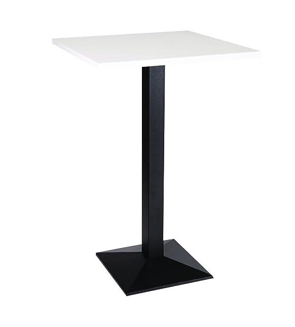 Quinn quadrata in ghisa medio Poseur tavolo base con varie dimensioni e finiture, metallo, White, 80 cm