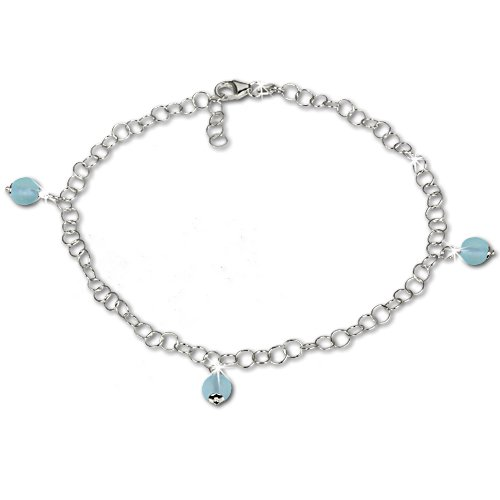 SilberDream anklet with tiny blue frosted glass beads, 925 Sterling Silver 9.8 inch SDF011H