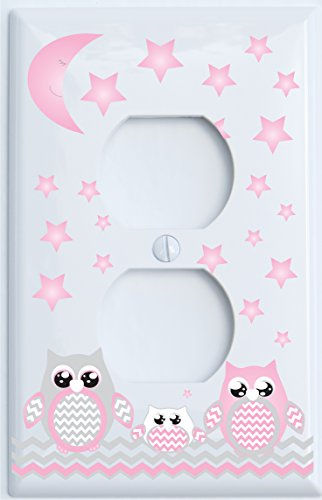 Grey and Pink Owl Outlet Cover / Owl Nursery Decor (Outlet Cover) (Owl Wall Plate Cover compare prices)