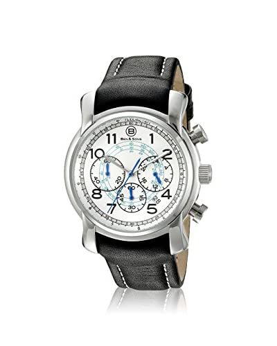 Ben & Son's Men's BS-10013-02-BLA Black/White Genuine Leather Watch